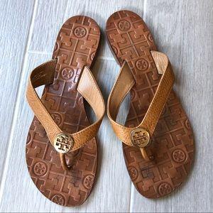 Tory Burch Thora Flat Thong Sandal tan and gold